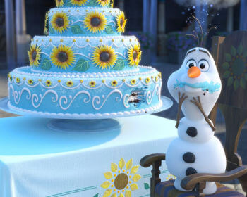 Olaf eating Frozen Fever cake