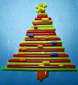 Χριστουγεννιάτικα δεντράκια από καλαμάκια