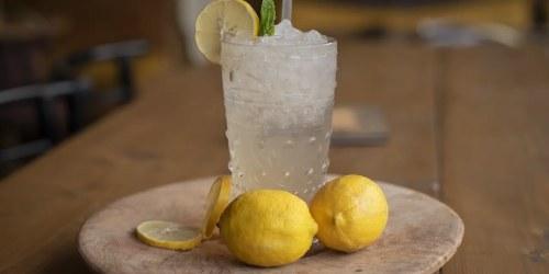 λεμονάδα σε ποτήρι και δύο λεμόνια
