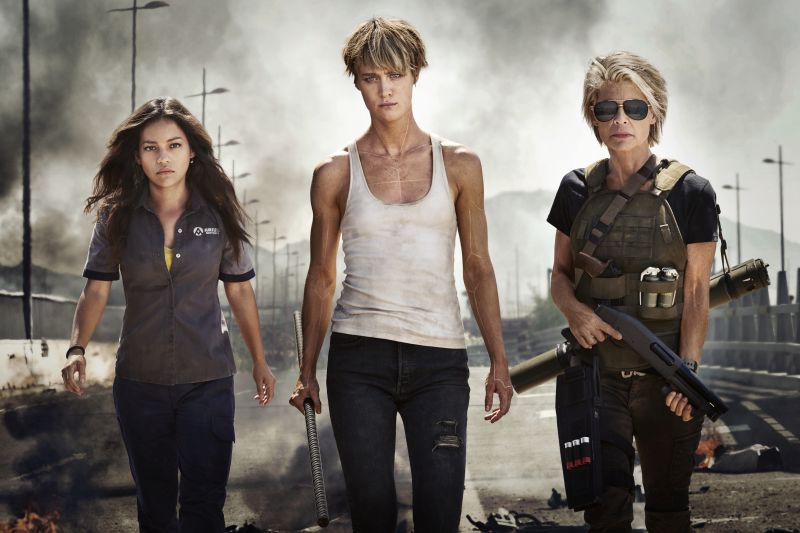 "the Women of the New TERMINATOR (from left to right) Natalia Reyes as ""Dani Ramos,"" Mackenzie Davis as ""Grace,"" Linda Hamilton as ""Sarah Connor"""