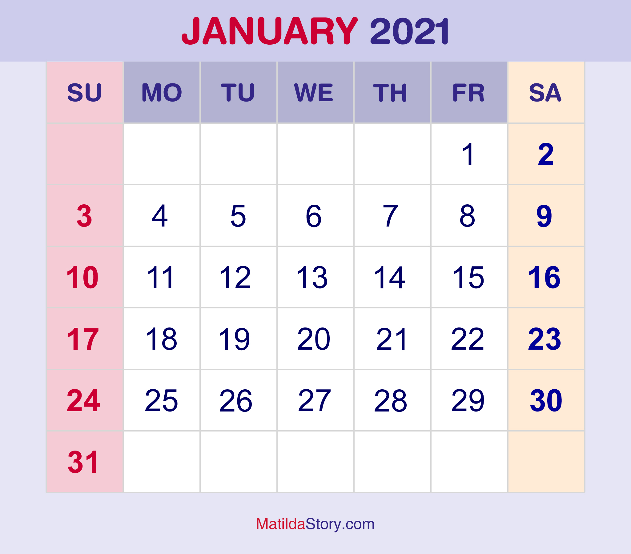 These include monthly calendars and even complete 2021 planners. January 2021 Free Printable Monthly Calendar 2021 Canada ...