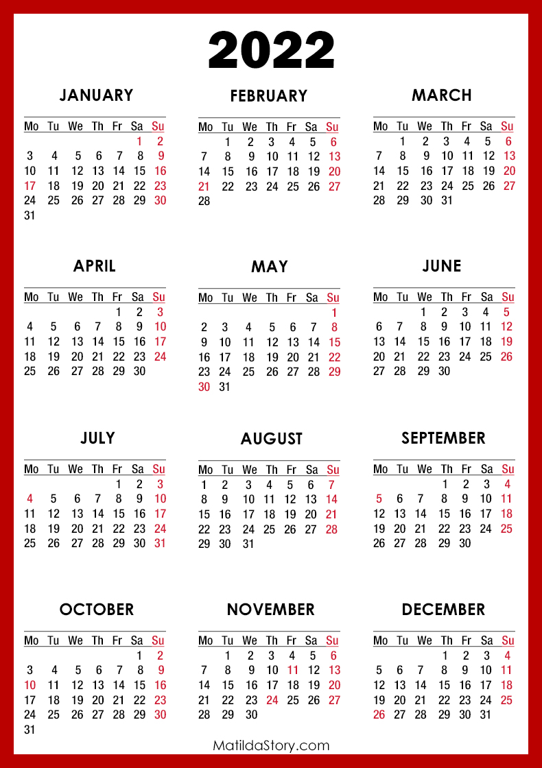 Everyone loves getting holiday cards in the mail, and sending them has never been so eas. 2022 Calendar with Holidays, Printable Free, Red - Monday ...