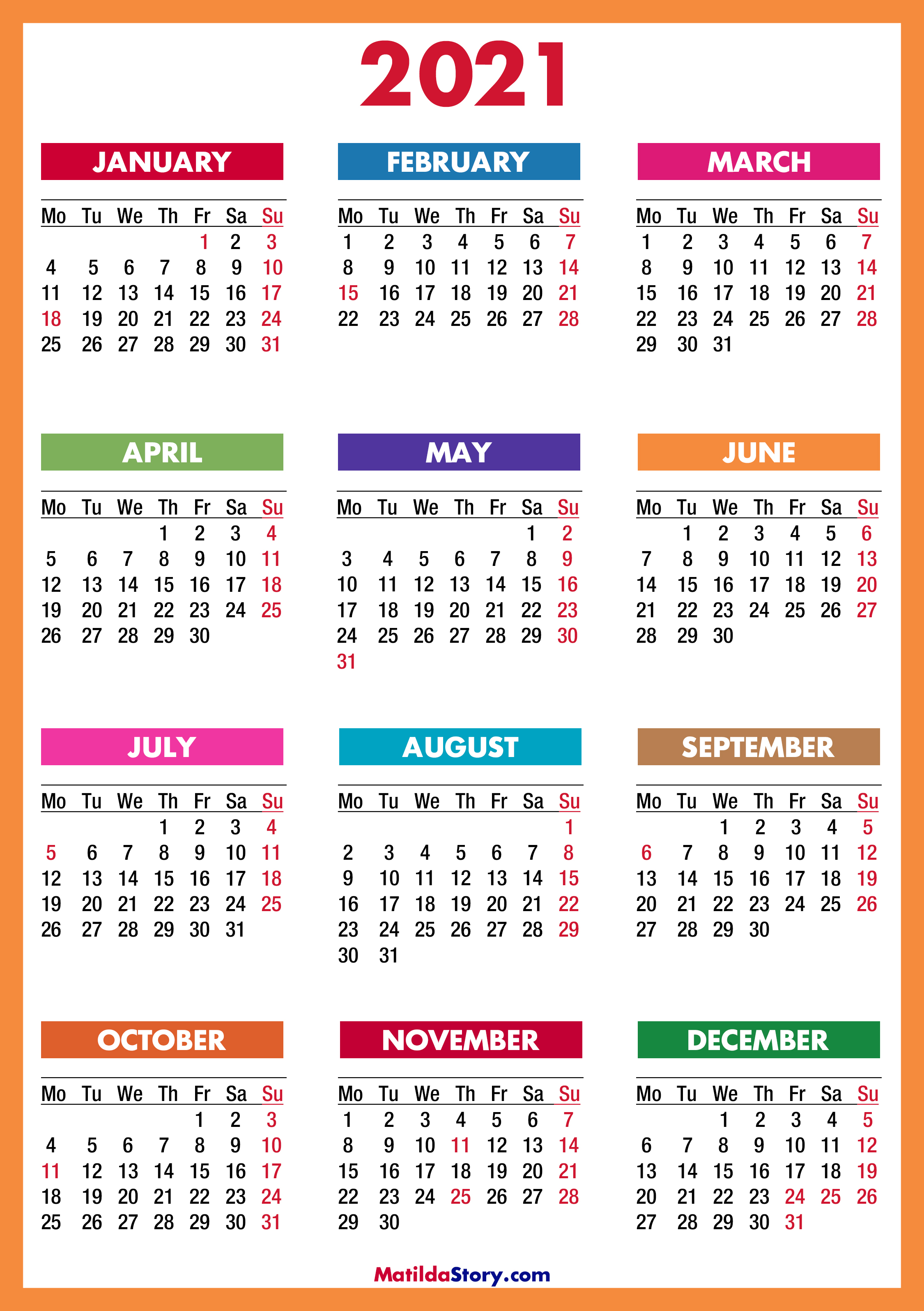 Whether for personal or business use, the best calendar app can become an essential tool, integrating with business software on top of providing reminders. 2021 Calendar Printable Free, Colorful, Red, Orange ...