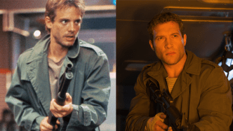 Michael Biehn, left and Jai Courtney as Kyle Reese.