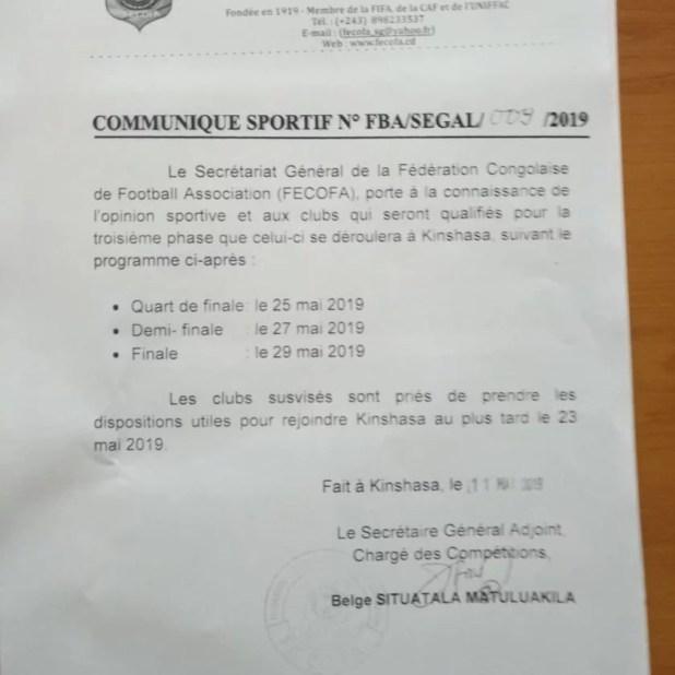 Communiqué de la Fecofa-Coupe du Congo
