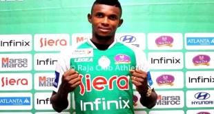 Fabrice Ngoma sous les couleurs de sa nouvelle formation, Raja Club Athletic de Casablanca