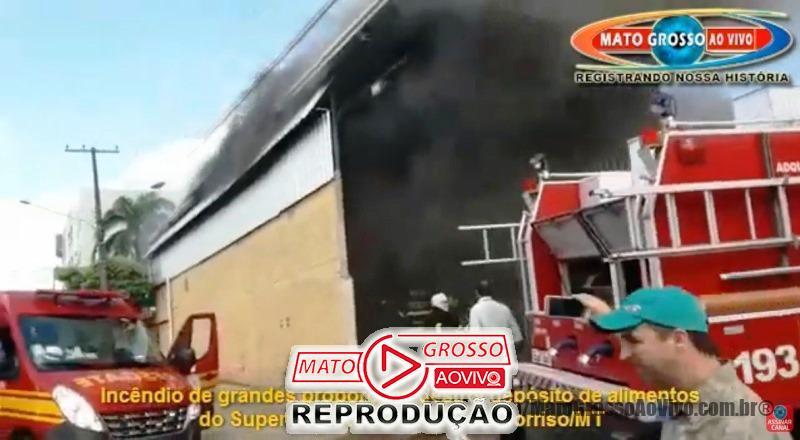 VÍDEO | Incêndio de grandes proporções destruiu depósito de alimentos do Del Moro em Sorriso 65