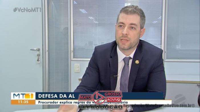 Procurador da Assembleia Legislativa, Grhegory Moreira Maia. — Foto: TVCA/Reprodução