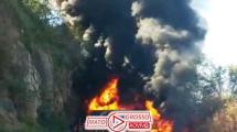 Acidente violento com explosões entre carretas interrompe trecho entre Rondonópolis e Cuiabá 140