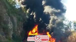 Acidente violento com explosões entre carretas interrompe trecho entre Rondonópolis e Cuiabá 120