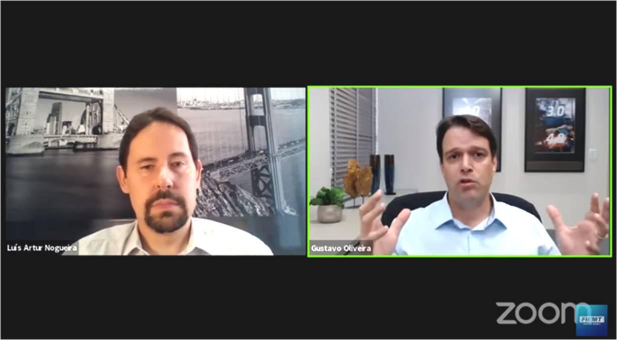 Luís Artur Nogueira e Gustavo de Oliveira debatem, em Live da Fiemt, efeitos econômicos do coronavírus 2020/21