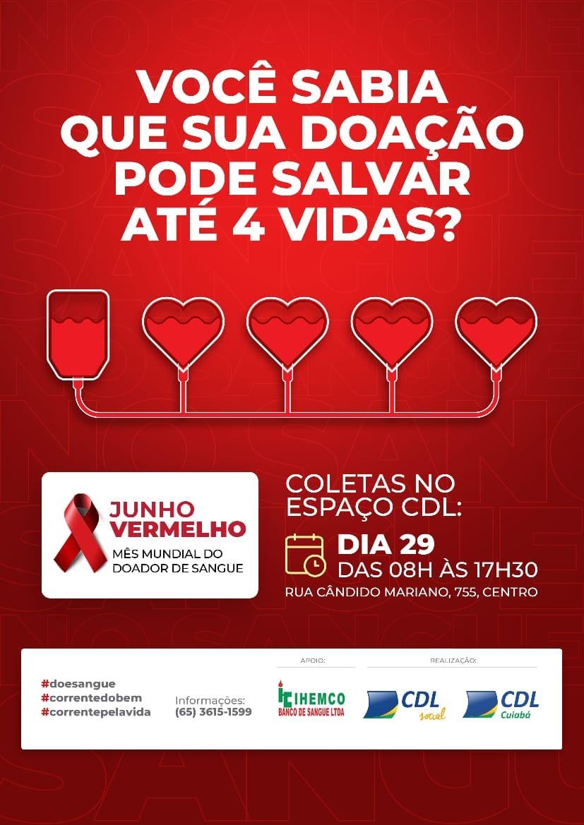 CDL Cuiabá realiza campanha de doação de sangue nesta terça (29)