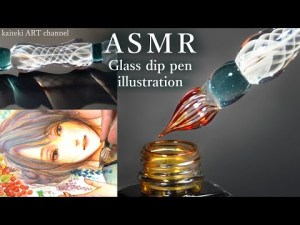 【ASMR】ガラスペンで秋のイラストを描く音🎧女の子/紅葉/着物🍁SOUND and DRAWING by a beautiful glass dip pen✒ Autumn illustration