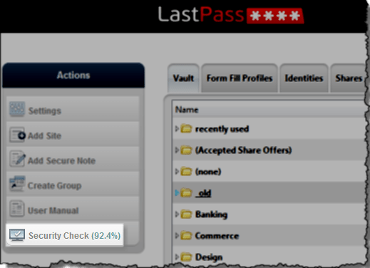 LastPass Security Challenge Check Button
