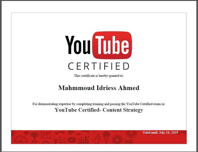 My YouTube Certification