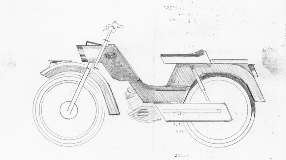 Birger Dahl. Tegning til moped. Sannsynligvis en Tempo-modell for Jonas Øglænd, Sandnes.