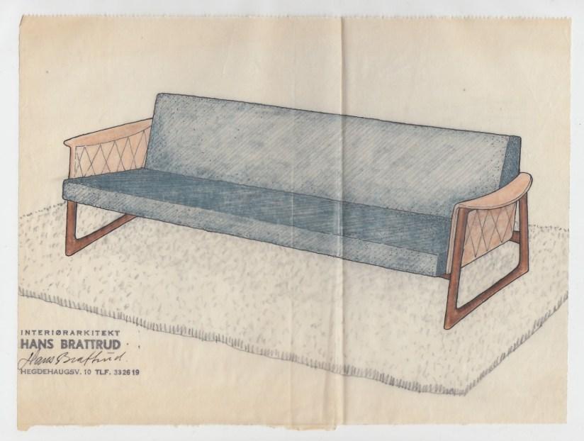 Hans Brattrud tegning til sofaen Comet. 1958.