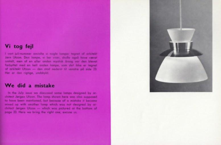 Mobilia augustutgaven 1965 der man retter opp i feilen fra den forrige utgaven med å vise en annen Jørn Utzon lampe.