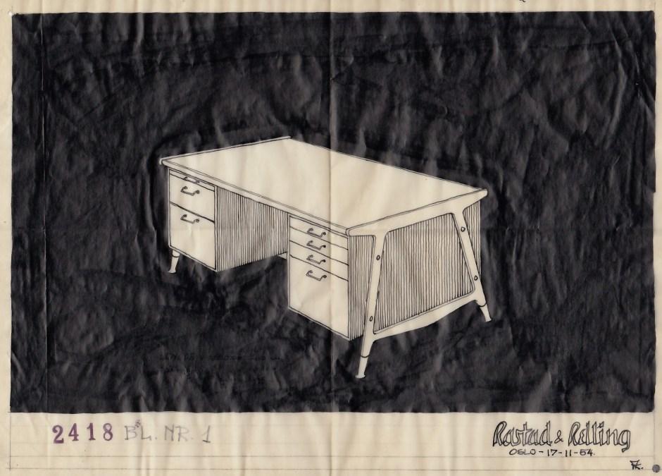 Fredrik Kayser ved Rastad & Relling Tegnekontor. Skrivebord. Tegnet til møtesal i anledning Stortingsbygningens utvidelse. 1954.