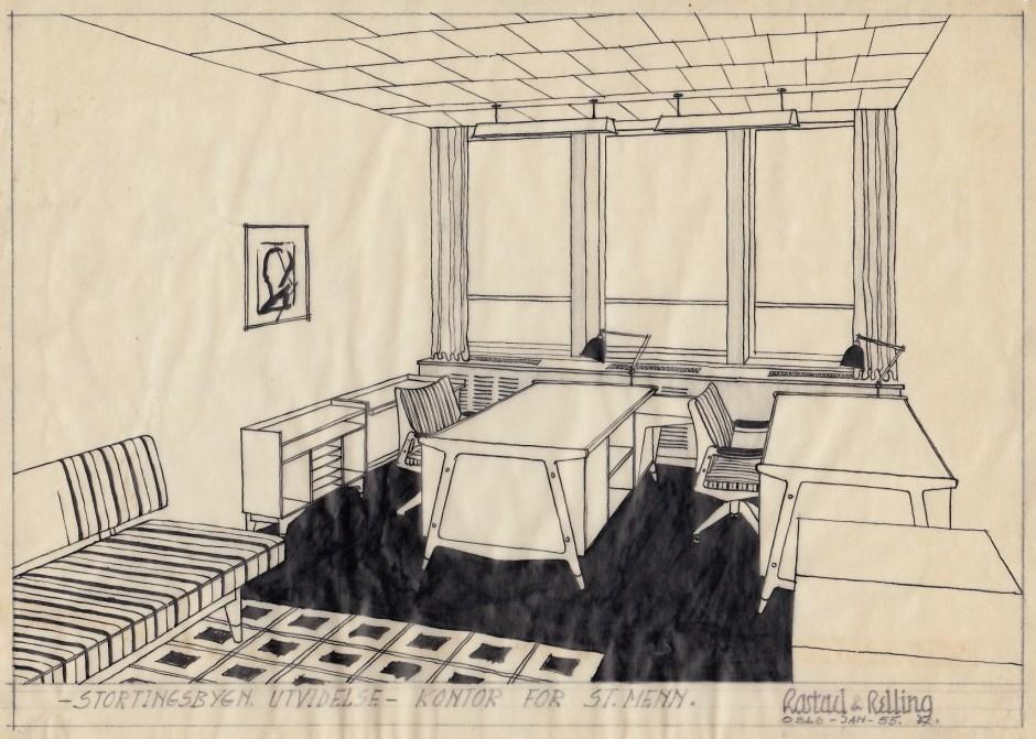 Skisse utført av Fredrik Kayser til stortingsmennenes kontor i anledning Stortingsbygningens utvidelse. 1955.