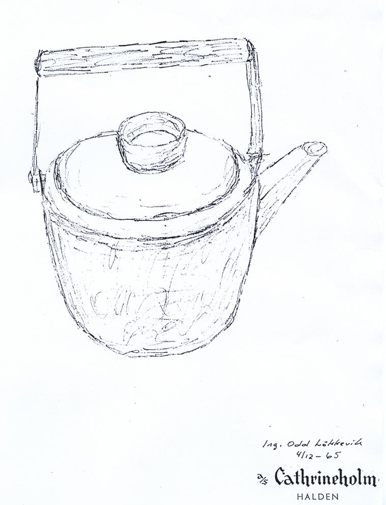 Faksimile av Odd Løkkeviks skissetegning av kaffekjelen. Datert 4/12-65.
