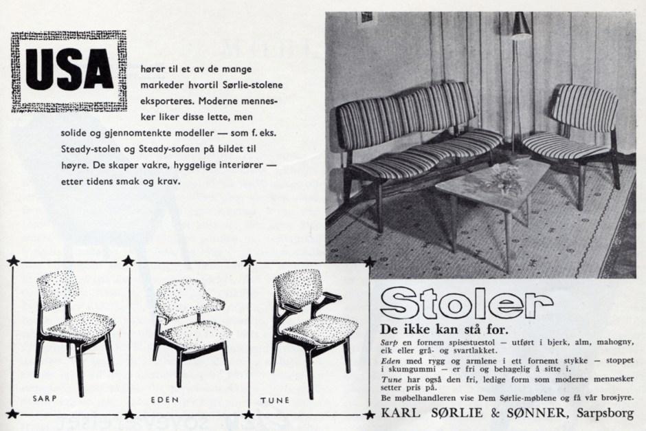Reklame for Gunnar Sørlies stoler Steady, Sarp, Eden og Thune. Produsert av Karl Sørlie & Sønner. 1955.