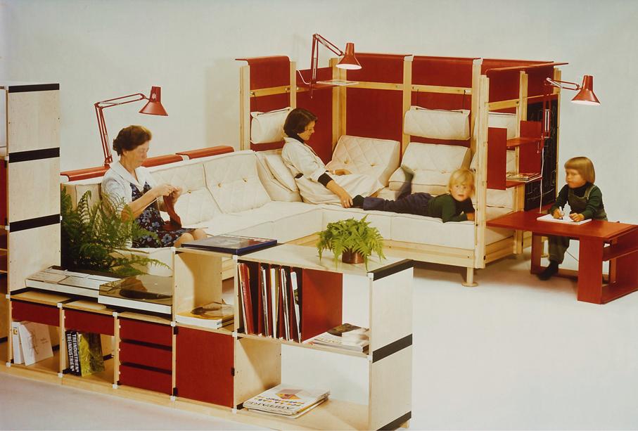 Møre Designteam. People Are Different – byggesystem. Prototype. 1. premie i nordisk møbelkonkurranse. 1976.