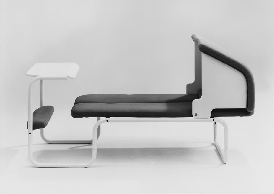 Møre Designteam ved Svein Asbjørnsen og Jan Lade. Pausemøbel. Prototype i Split-serien. Produsert av HÅG. 1983.
