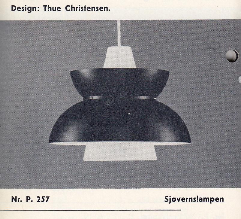 Sjøværnspendelen ble tegnet av Thue Christensen. Her avbildet i en Finn Lunde belysningskatalog fra 1965.