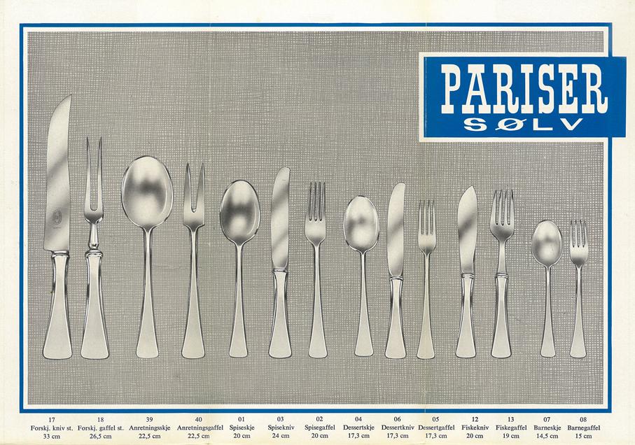 "Reklamefolder for Jacob Prytz ""Pariser sølv"" for J. Tostrup. (Junn Paasche-Aasen)"