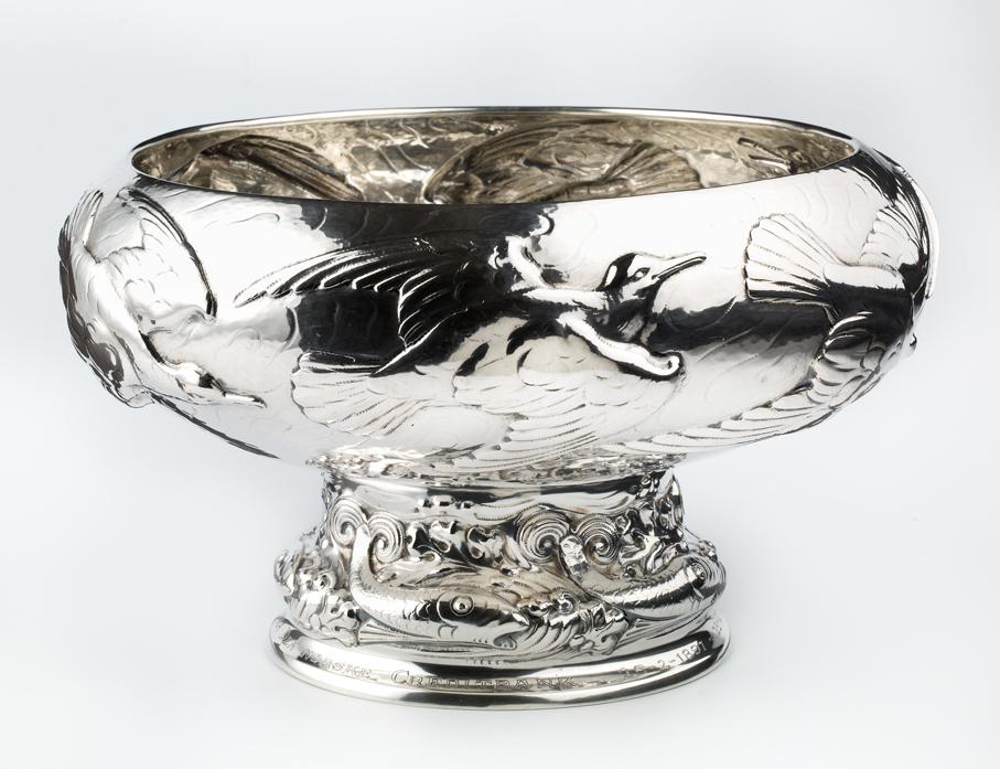 Thorolf Holmboe. Skål. Sølv. Utført ved N.M. Thune. Ca. 1907. (Foto: Nasjonalmuseet / Frode Larsen)
