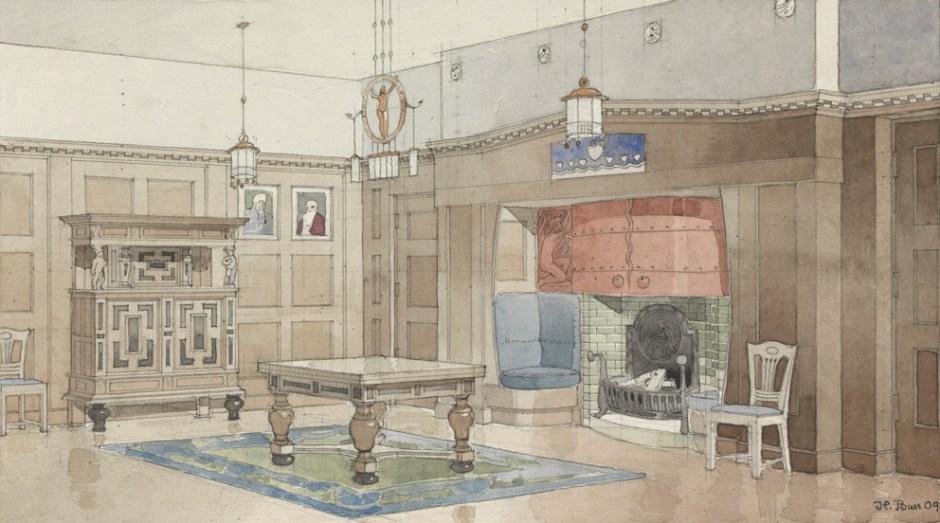 Henrik Bull. Konkurranseutkast til villa for generalkonsul H. Olsen. Datert 1909. (Foto: Nasjonalmuseet / Dag Andre Ivarsøy)