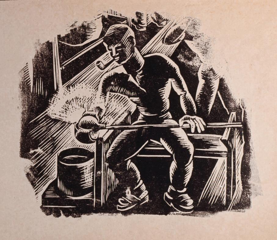 Lars Fletre. Linoleumsnitt. Prøvetrykk til Motiv av glassarbeidere på Hadeland Glassverk. 1945. (Estate of Lars Fletre©Valborg Fletre Linn)