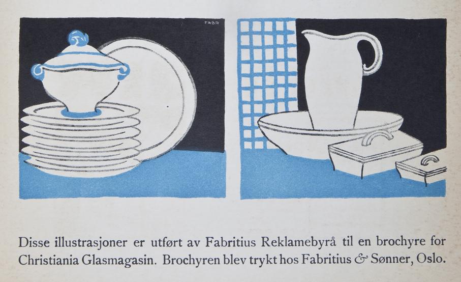 Denne reklamen av Fabritius for Christiania Glasmagasin er svært suggestiv ved sin effektive bruk av farger og kontraster.
