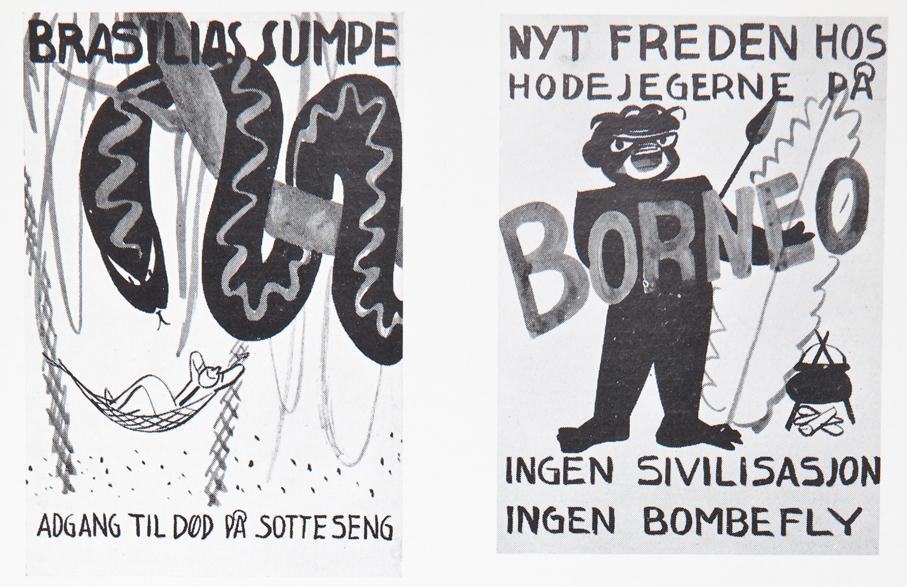 """To småmakabre """"tulleutkast"""" til plakater fra 1939 som driver gjøn med den andre verdenskrigen."""