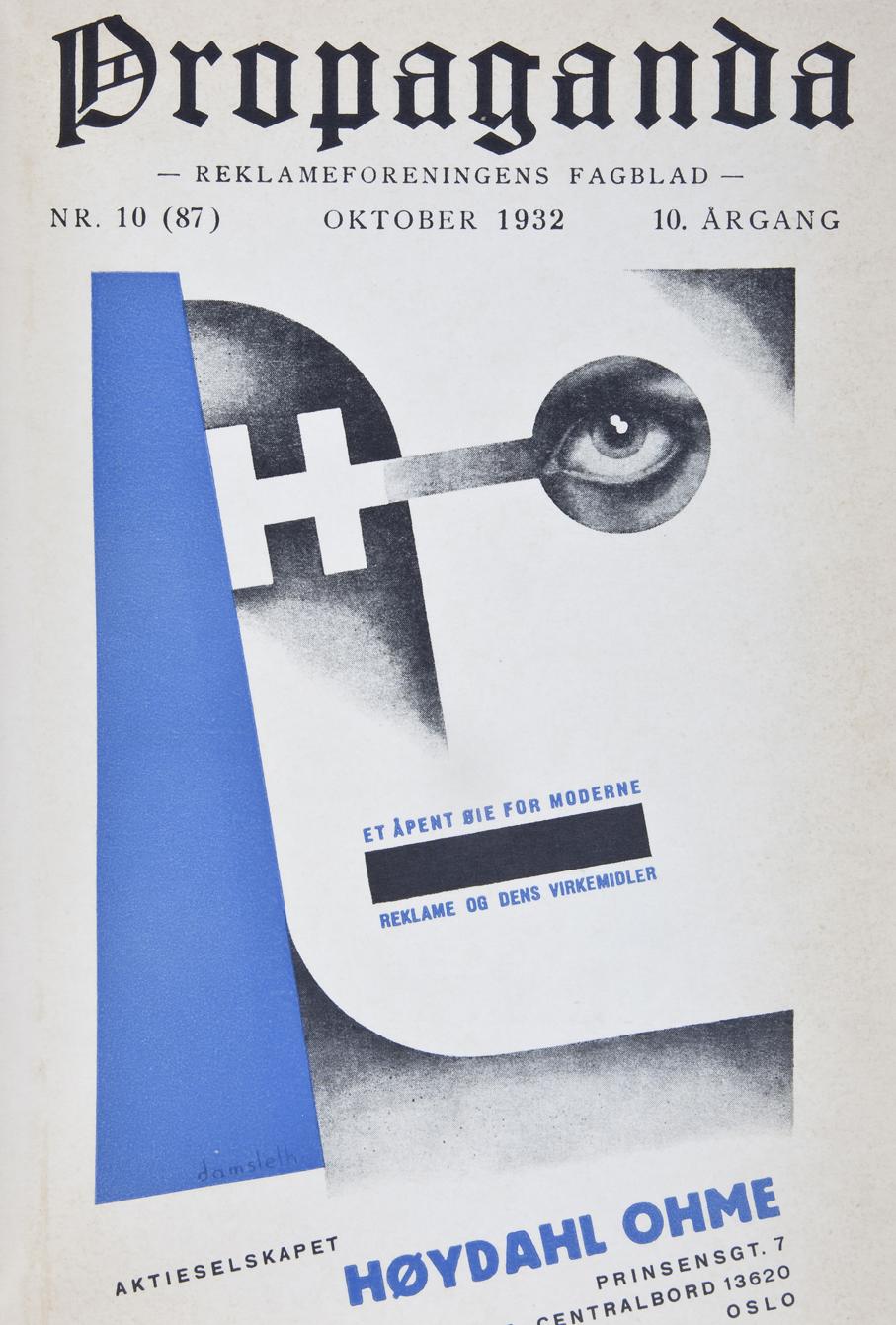 Vanvittig tøff Propaganda forside fra 1932. Utført ved Høydahl Ohme av Harald Damsleth.