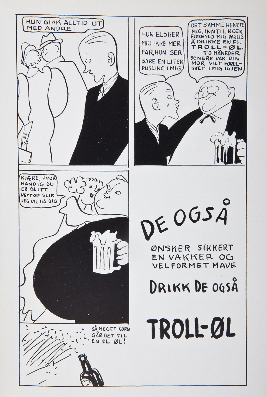 Humoristisk antireklame fra 1936 som kun ble laget for Propagandas lesere.