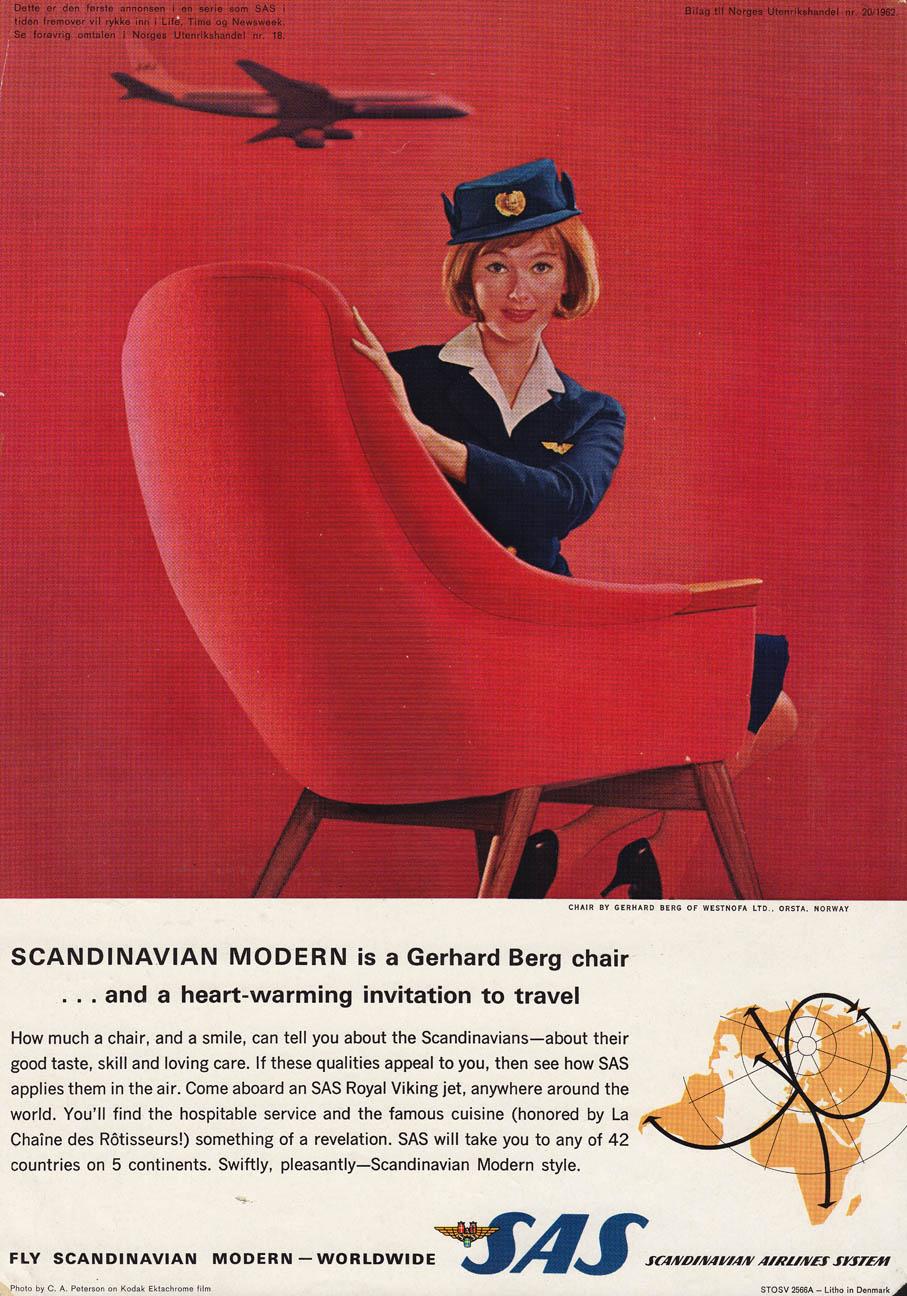SAS annonse fra 1962 med Gerhard Bergs hvilestol Marina.