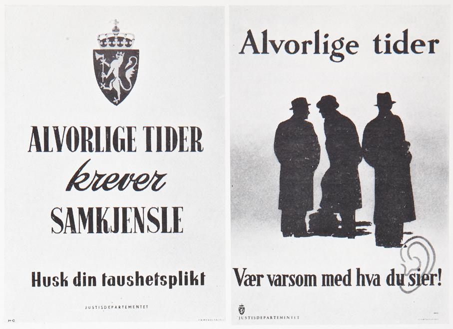 De norske plakatene «Alvorlige tider» var inspirert av den det svenske Justisdepartementet laget i 1939.