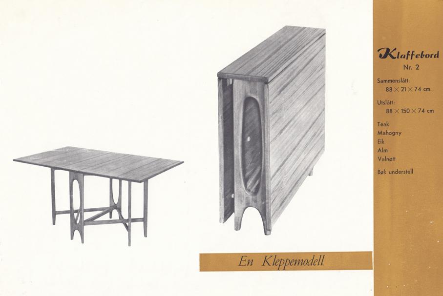 Bendt Winge. Spisestuebord. Modell: Klaffebord Nr. 2. Produsert av Kleppe Møbelfabrikk.