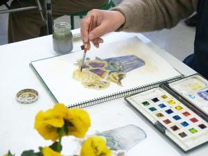 火曜絵画教室|Mさんの制作風景