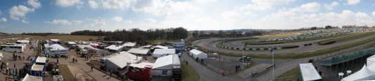 Elevated view of the paddock and track of Lyyden Hill Race Circuit during the RallyRX 1 2013