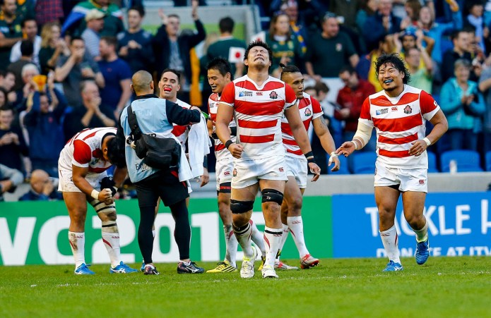 Scenes of utter joy after the game by the Japanese players. Rugby World Cup group game from Pool B between South Africa and Japan. at Brighton Community Stadium. (c) Matt Bristow