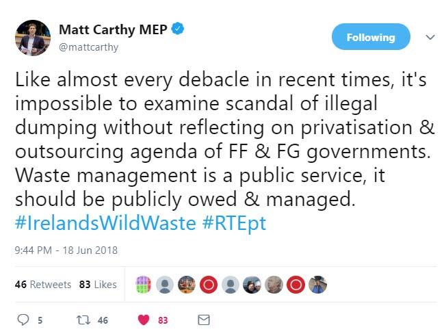 Waste Management Tweet Matt Carthy MEP