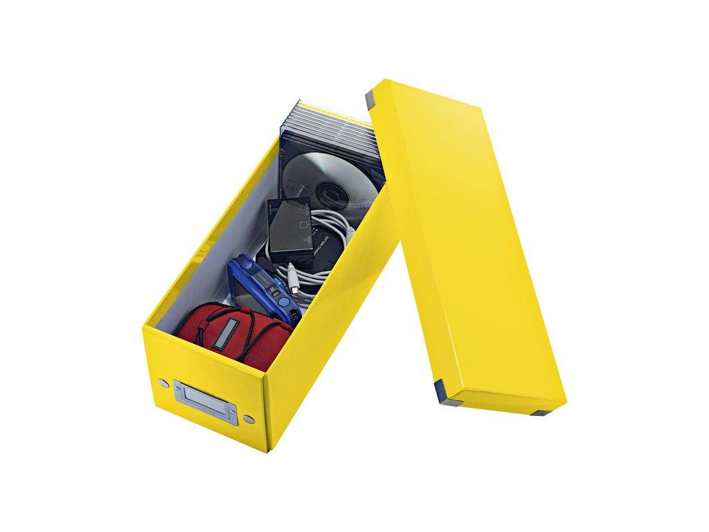 boite de rangement cd leitz wow clicke store 143x136x352mm jaune