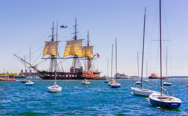 USS Constitution with sails out on Labor Day 2014