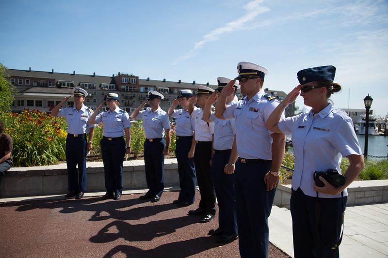 USS Coast Guard at National Anthem