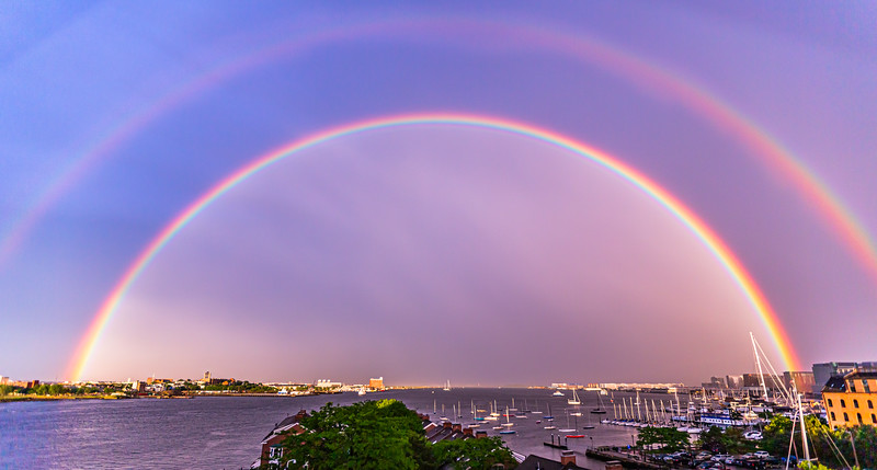 Double Rainbow over Boston Harbor