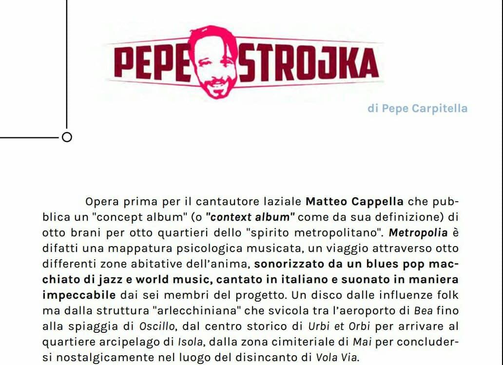 Matteo Cappella Metropolia Exit Well review Pepe Carpitella