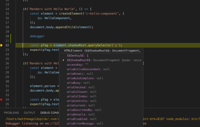 Inspecting a variables value by hovering in Visual Studio Code.